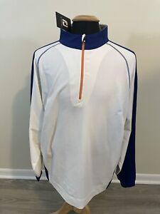 NEW NWT FootJoy Golf Sport Half Zip Pullover Mens Size XL White / Blue