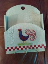 Painted Wood ROOSTER WALL KEY RACK W/ STORAGE ~ Farmhouse Cottage Chic
