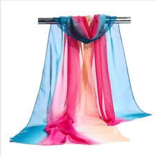 Fashion Rainbow Color Chiffon Wrap Scarf Long Soft Shawl Stole Scarves Women