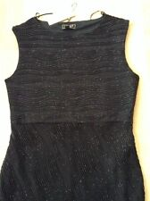 Bnwt🌹Lipsy🌹Size 14 Black Glitter Ripple Bodycon Dress Evening Going Out New.