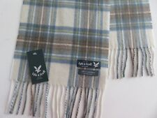 Lyle & Scott 100% cashmere scarf blue cream beige checked mens womens NEW wool
