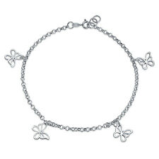 4 Multi Butterfly Anklet Dangle Charm Ankle Bracelet Sterling Silver 9 to 10 In
