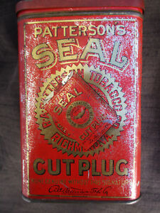 OLD VINTAGE 1910-1920 ? PATTERSONS SEAL CUT PLUG CHEWING SMOKING TOBACCO TIN CAN