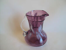 VINTAGE PURPLE / WHITE / CLEAR GLASS SMALL CRUET/CREAMER/EWER PITCHER