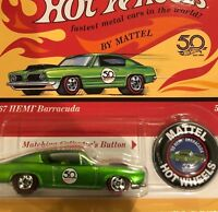 HOTWHEELS 50TH ANNIVERSARY ORIGINAL 67 HEMI BARRACUDA REDLINE  .,.,