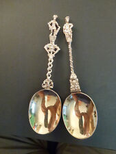 PAIR OF VICTORIAN ORNATE ROMAN SOLDIER SILVER SERVING SPOONS