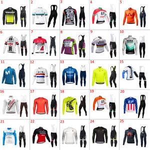2022 Thermal Fleece long sleeve cycling jersey Bib Pants sets cycling bib pants