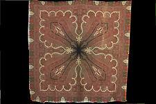 "Antique Paisley Shawl W/ Gorgous Intricacies & Coral Center, 19th C (70"" X 70"")"
