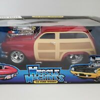 1950 Ford Woody Wagon Red Muscle Machines 1:18 Scale Die Cast Too Hot New in Box