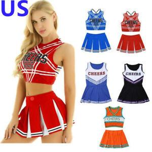 US Women Cheer Leader School Girl Uniform Set Costume Fancy Dress Crop Top Skirt
