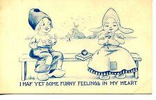 Dutch Kids Couple-Romance Feeling-Artist Drawn Signed Wall-Cute Vintage Postcard