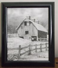 H Hargrove Signed Lithograph Black and White canvas print framed