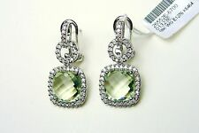 18K WHITE GOLD DIAMOND & GREEN AMETHYST EARRINGS