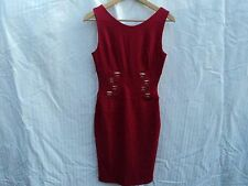 Vintage Womens Va Va Voom Red Dress with Metallic Designs on Front in Size Small