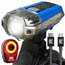 Light Blitzu Usb Rechargeable Bike 390 Lumens Front Headlight Led Tail Set Blue