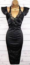 KAREN MILLEN STUNNING BLACK SATIN JEWELLED COCKTAIL DRESS UK 12 OCCASION PARTY