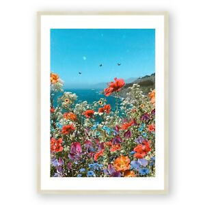 Big Sur Print , California Wall Art , Flower Field Print , Living Room Art