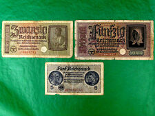 Germany WWII 50; 20; 5  Reichsmarks 3 Banknote Set Money III Reich, Swastika