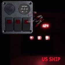 Red CF S2 3 Gang Car Rocker Switch Panel USB Socket Plug Voltmeter Charger