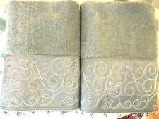 Avanti Linens 2-PC Bath Towel Set Dusty Aqua Embroidered Satin Panel NWOT