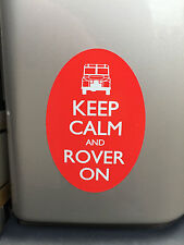 LAND ROVER Series Defender Range Discovery KEEP CALM and ROVER ON Sticker - OVAL