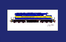 "Iowa Chicago & Eastern SD40-2 11""x17"" Matted Print Fletcher signed"
