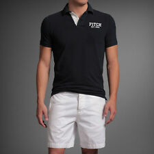 Abercrombie&Fitch AF Latham Pond Men's Pique Polo Shirt Muscle Fit Navy NEW L