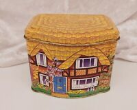 Vintage Tin/Storage Container-Sweets/Biscuits-Novelty Thatched House/Cottage