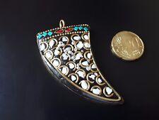 Colgante Cuerno arcilla barro abalorios bisuteria Nepal colores colgantes metal