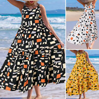 UK Women Summer Beach Sleeveless Casual Loose Tiered Flare Swing Long Maxi Dress