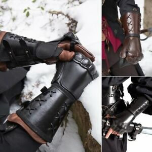 Medieval PU Arm Wrist  Wide Cuffs Bracers Warrior Archer Gauntlet Glove Cosplay