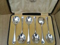 6 Antique Walker & Hall Rattail Silver Plate Soup Spoons Boxed