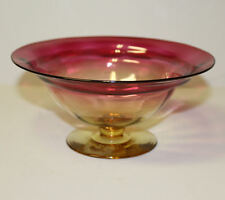 Antique Amberina Compote art glass signed Libbey