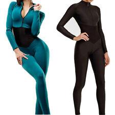 Women Sexy Bodysuit Bodycon Zipper V Neck Long Sleeve Yoga Sport Unitard Romper