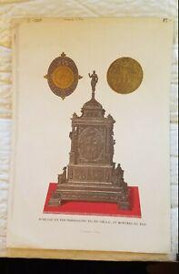 C. 1880. French Chromolithograph 15th c iron clock16th watch Paul Lacroix Paris