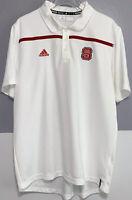 Adidas White Polo Shirt NCS North Carolina State Red Stripe Mens Size Large L