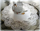"""Classic Rose Lace Doily European Round 16"""" Table Topper Antique White"""