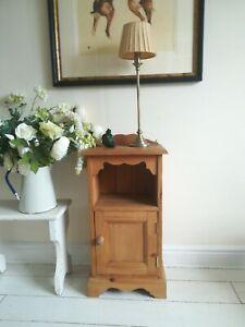 Bedside side cabinet solid pine Shelf cupboard Carved Detail Postage Available