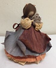 "Nan's Dolls  # 25 Amy Corn Husk Doll with Bear 5 1/4"" tall"