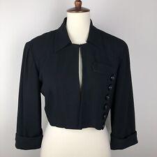 Vintage Zelda Cropped Black Jacket Size Small Button Detail Rayon Blend Formal