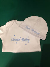 Personalised embroidered  baby bodysuit and beanie outfit