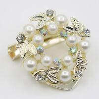 EG_élégant perle synthétique strass anneau de foulard en soie Boucle clip Sassy