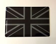 Union Jack Drapeau Autocollant/Autocollant 64 mm-Noir & Gris-brillant en forme de dôme Gel-UK
