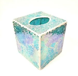 NEW IRIDESCENT BLUE,GREEN,TEAL IRIDESCENT GLASS MOSAIC NAPKIN HOLDER TISSUE  BOX