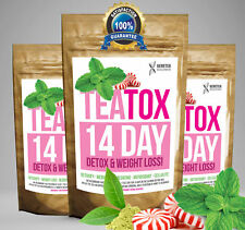Peppermint TEATOX 14 DAY DIET SET Weight Loss Detox Skinny Fat Burn Tea RRP £20