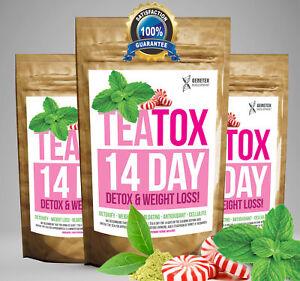 Peppermint TEATOX 14 DAY DIET SET Weight Loss Detox Skinny Fat Burn Tea RRP £20