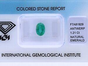 natürlicher 1,21 Karat Smaragd Oval IGI Expertise