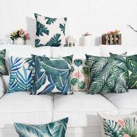 """18"""" Cotton Linen Tropical Plant Pillow Case Waist Cushion Cover Home Decoration"""