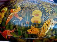 "Vintage Hand Painted Animals Hunter Leopard Deer Kashmir Paper Mache Box 4.5""H"