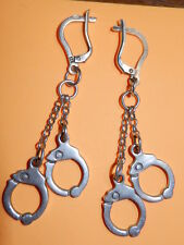 Rare EXCLUSIVE Russian STERLING SILVER 925 USSR earrings handcuffed police